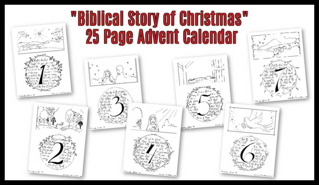 Biblical Story of Christmas Printable Coloring Advent Calendar Pages