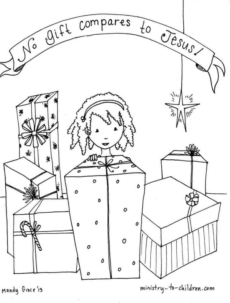 No gift compares to Jesus - Sunday School Coloring Page