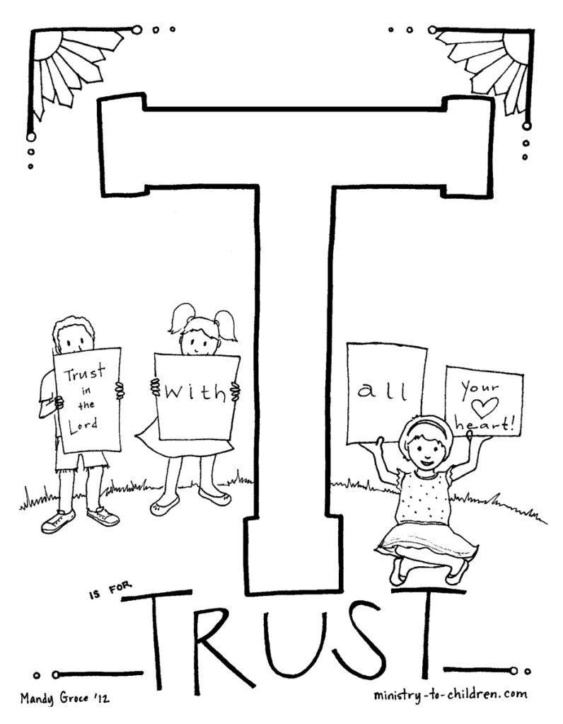 Trust God Sunday School coloring page