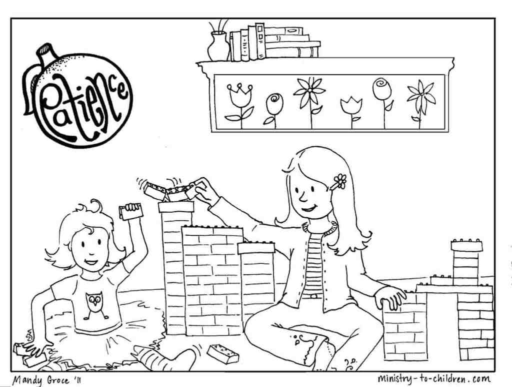 """Patience"" Sunday School Coloring Page"