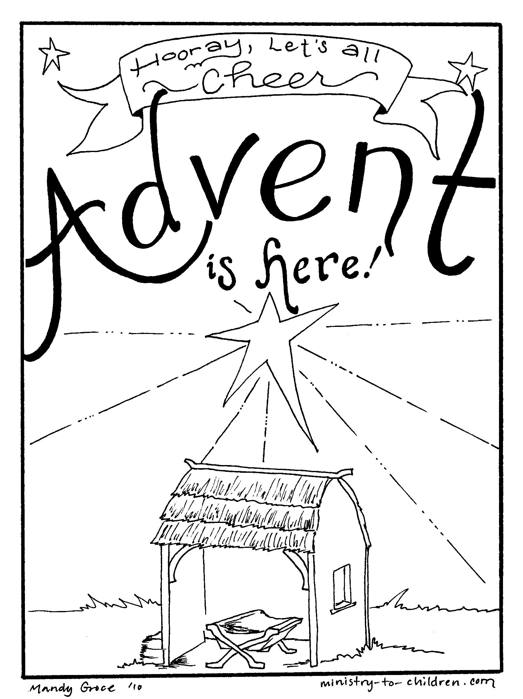 Advent is here coloring page