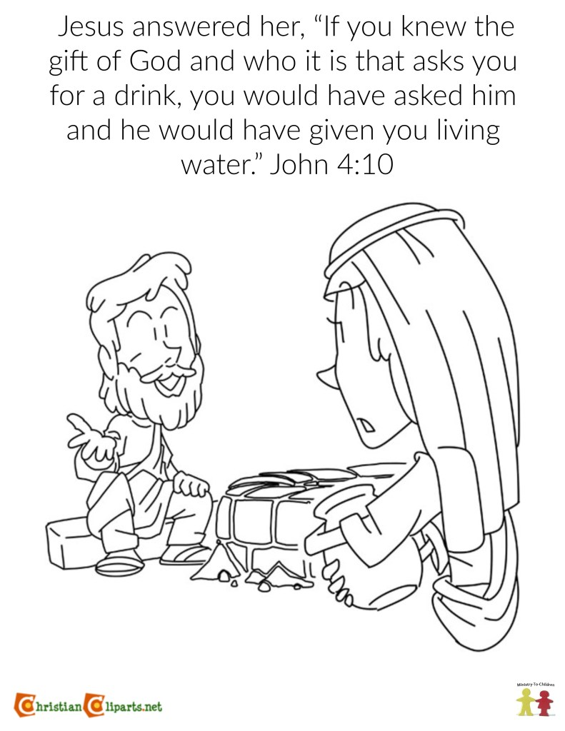 Coloring Page: Jesus and the Woman at the Well