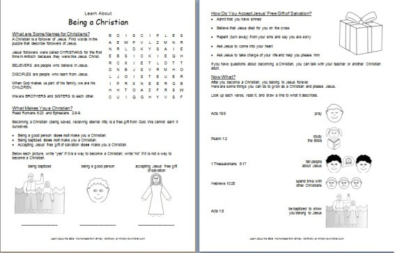 Being a Christian worksheet