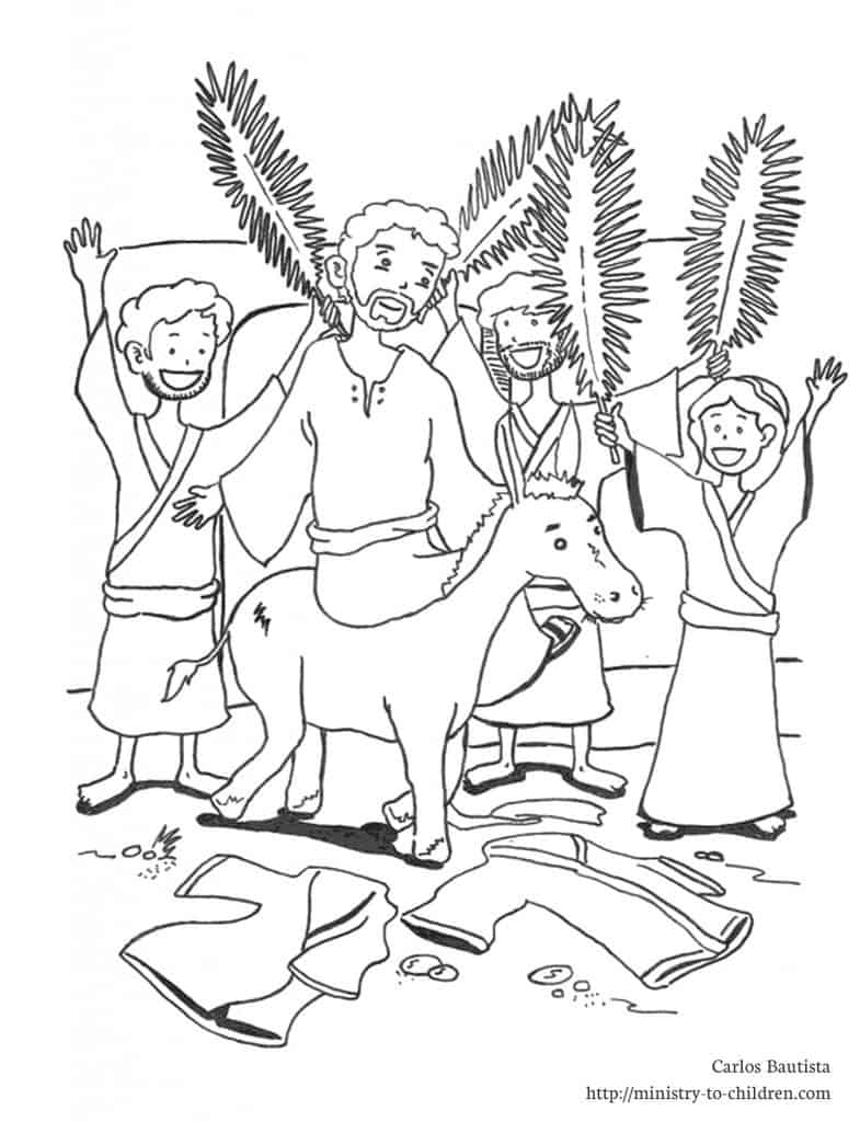 Jesus rides a donkey into Jerusalem on Palm Sunday