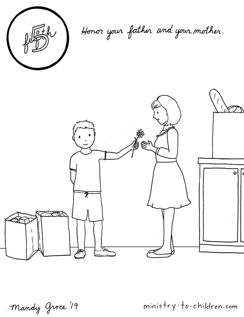 5th commandment coloring page - honor your mother