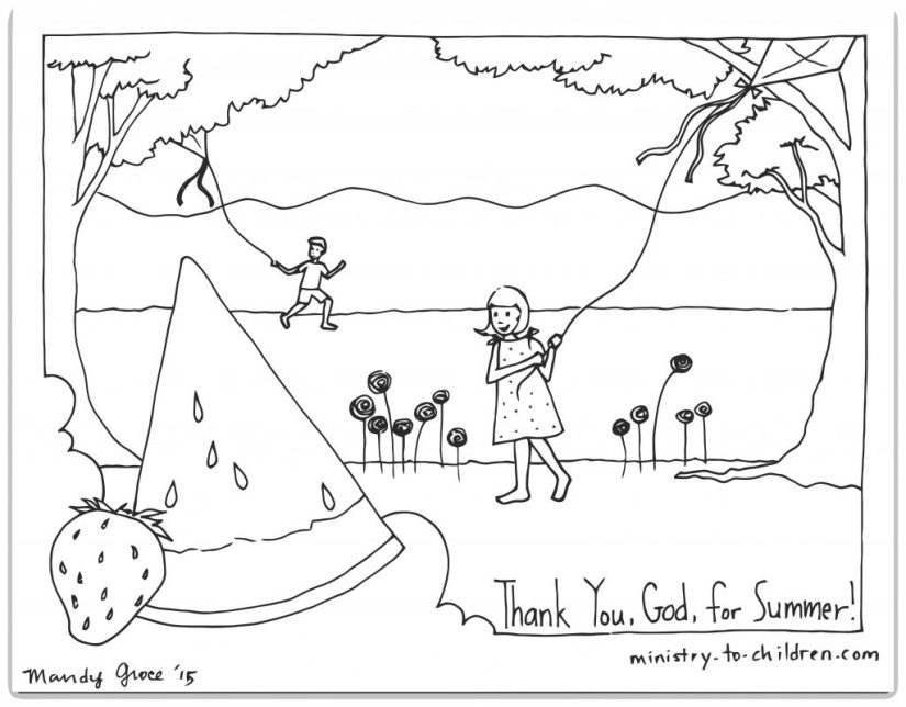 Bible Coloring Page God Made Summer Religious Printable PDF for Sunday School