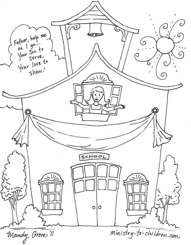 Prayer for Back To School Coloring Page