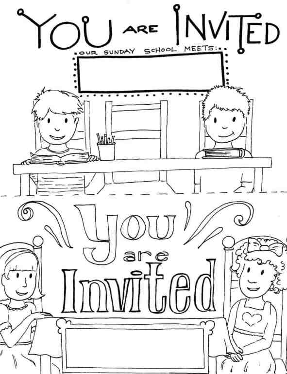 Invited to Sunday School Coloring Page