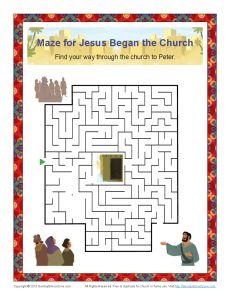 Jesus Began The Church Maze Childrens Bible Activities