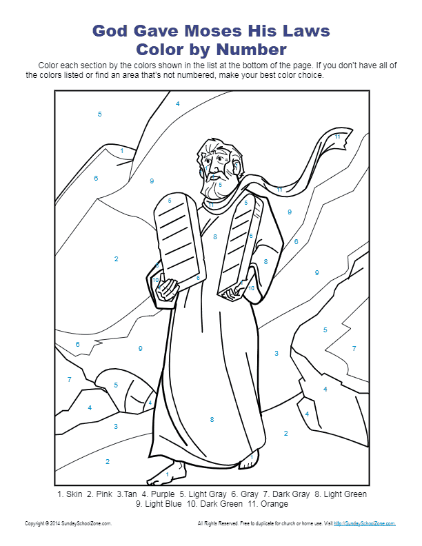 Free Printable Ten Commandments Coloring Pages : printable, commandments, coloring, pages, Commandments, Color, Number, Sunday, School