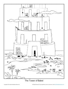 The Tower of Babel Coloring Page Printable Sheet