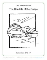 Gospel Shoes Of Peace Armor God Coloring Pages Sketch