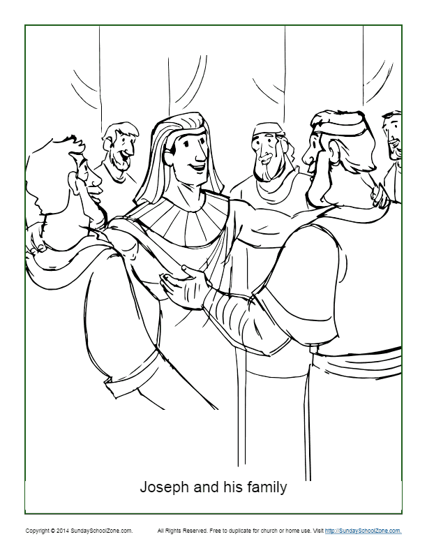 Joseph and His Family Coloring Page on Sunday School Zone
