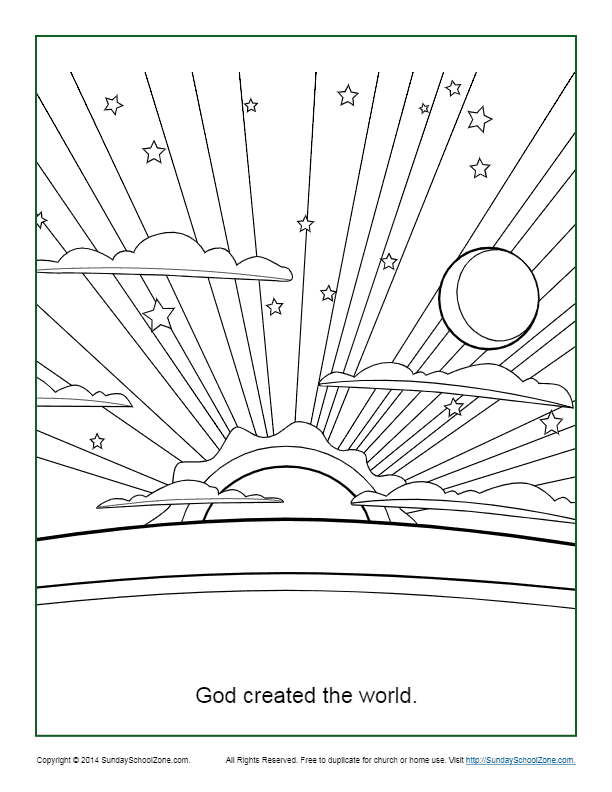 God Created the World Coloring Page