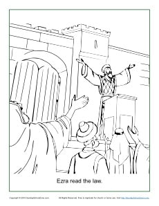 Ezra Read the Law Coloring Page
