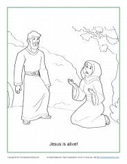 Jesus Is Alive! Resurrection Coloring Page on Sunday