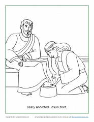Mary Anoints Jesus' Feet Coloring Page