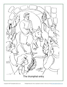 Free, Printable Palm Sunday Coloring Page on Sunday School