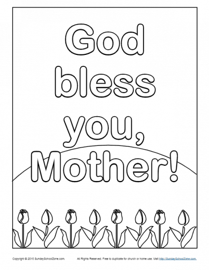 Mother's Day Coloring Pages on Sunday School Zone