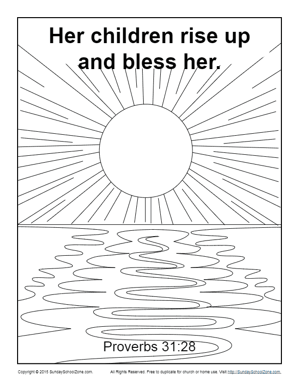 Her Children Rise Up and Bless Her Coloring Page