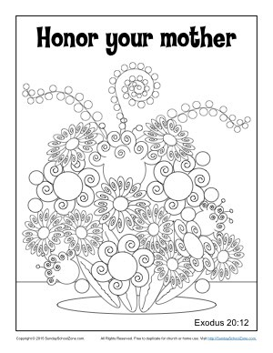 Honor Your Mother Coloring Page Childrens Bible