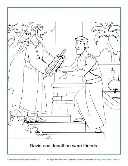 Coloring pages David and Jonathan Adam and Eve