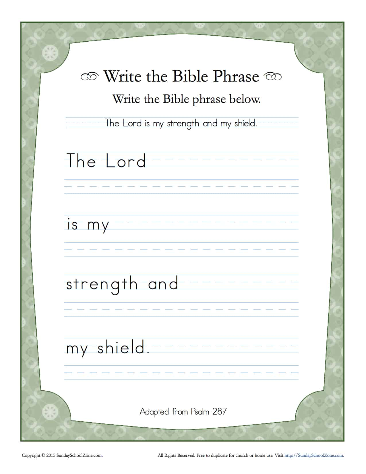 Psalms 28 7 Write The Bible Phrase Worksheet