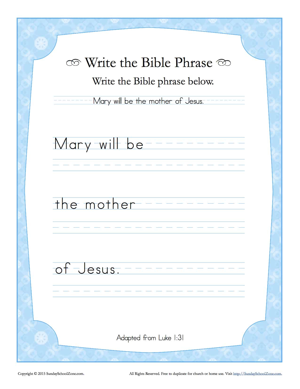 Luke 1 31 Write The Bible Phrase Worksheet