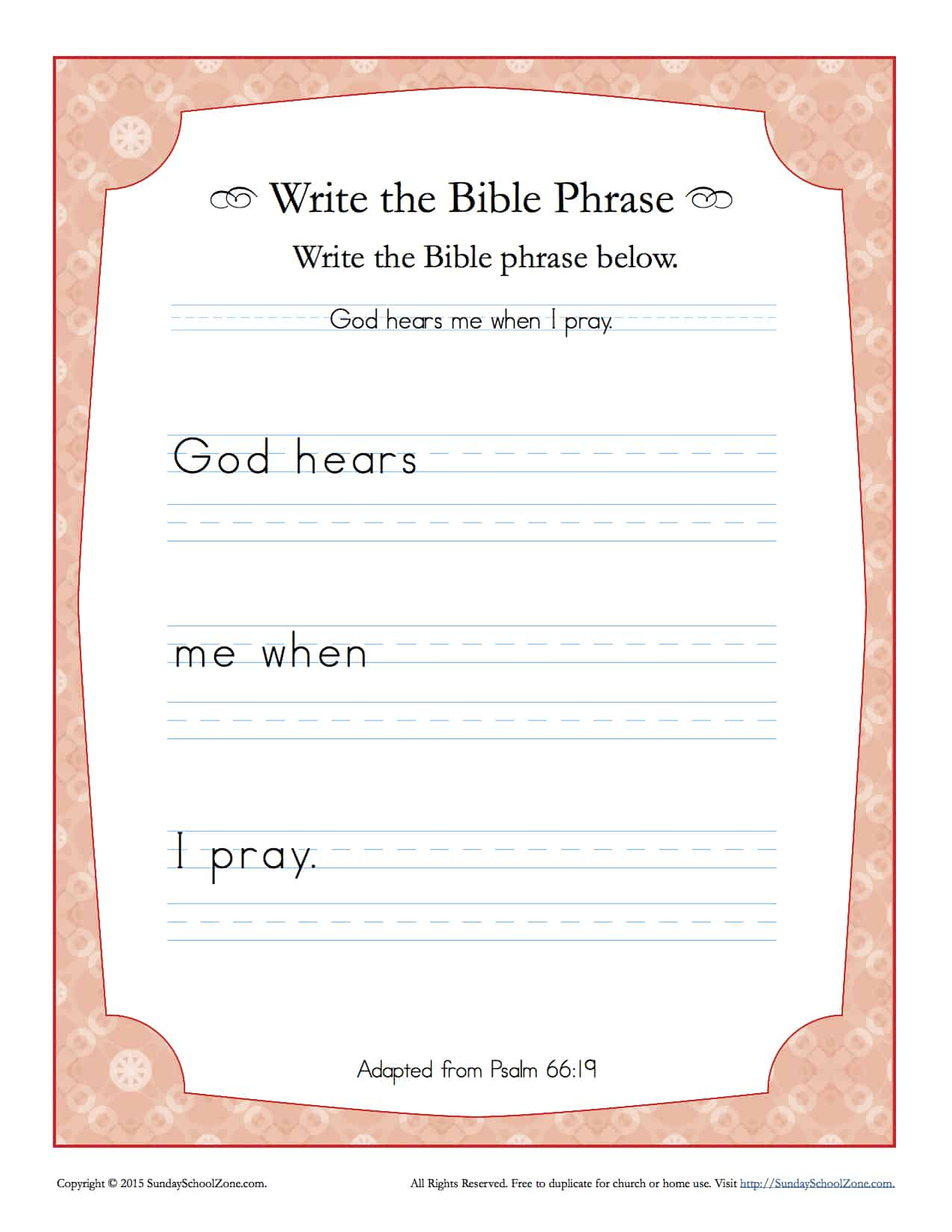 Psalms 66 19 Write The Bible Phrase Worksheet