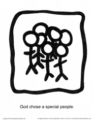 God Chose a Special People Story Icon Coloring Page