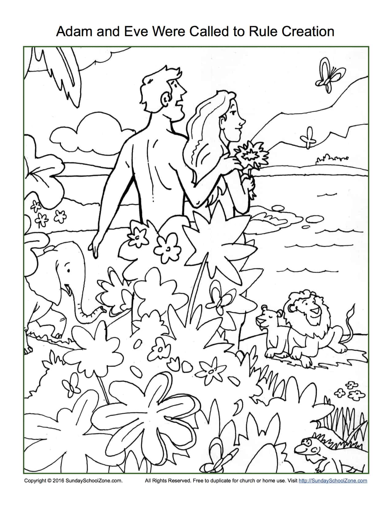 Adam And Eve Were Called To Rule Creation Coloring Page