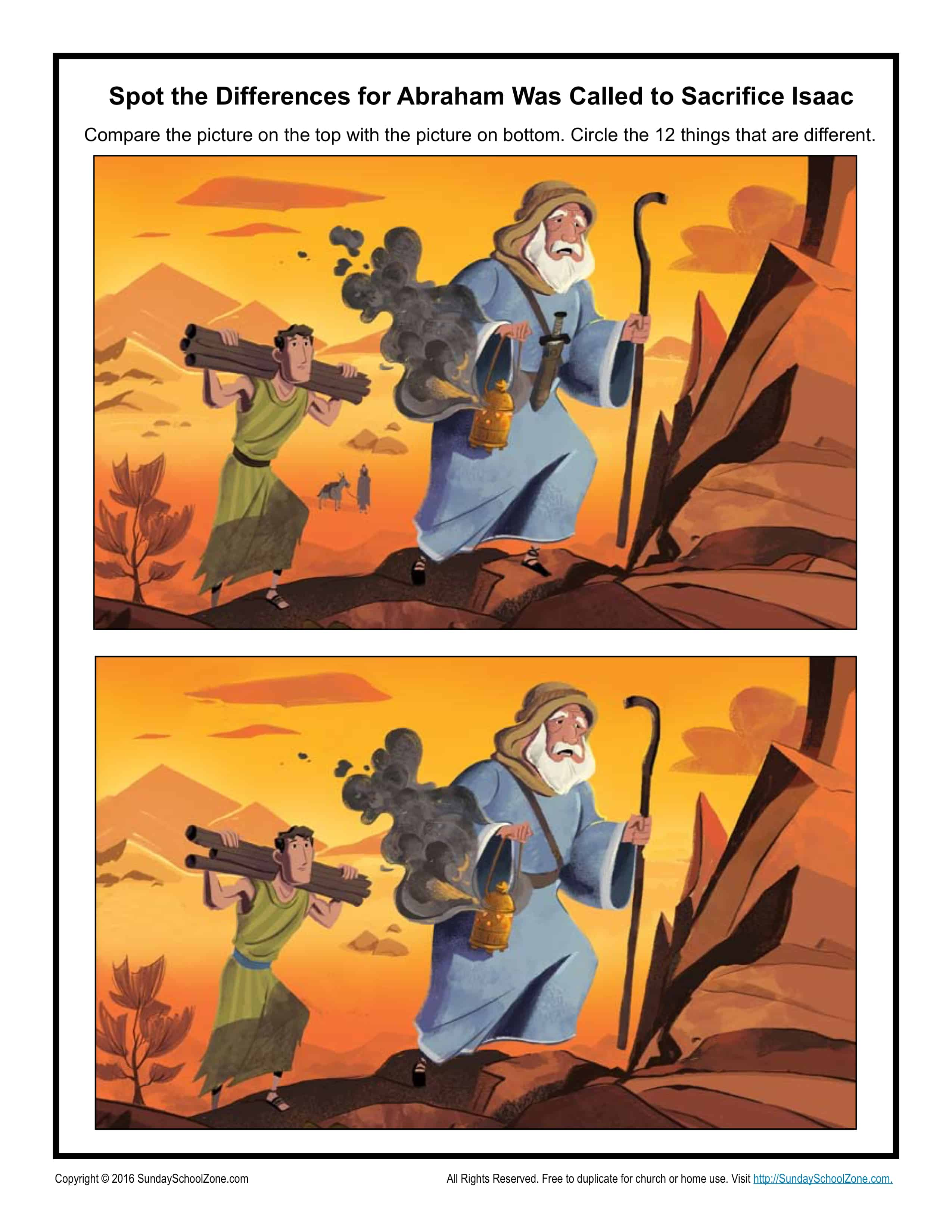 Abraham Was Called To Sacrifice Isaac Spot The Differences