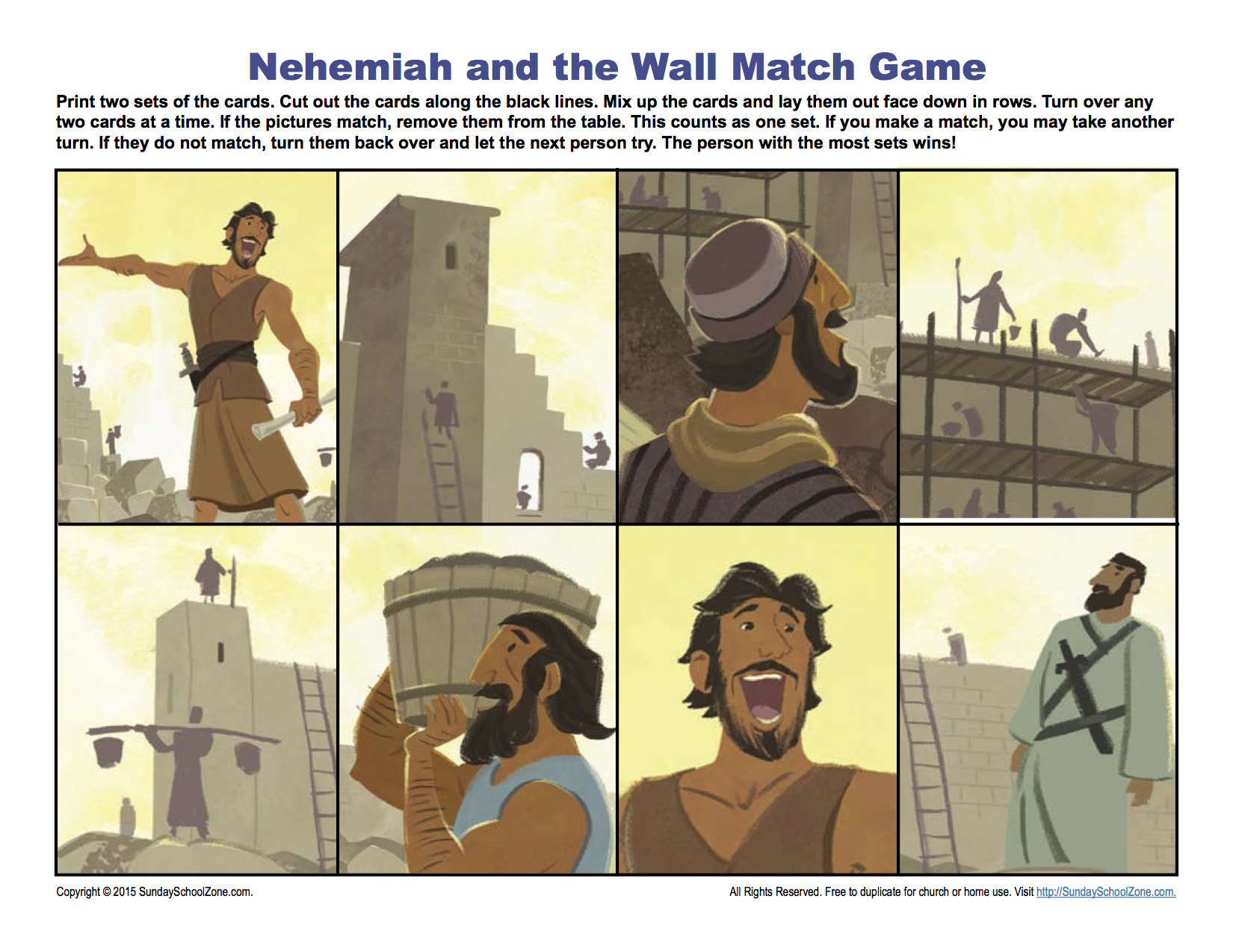 Nehemiah And The Wall Match Game