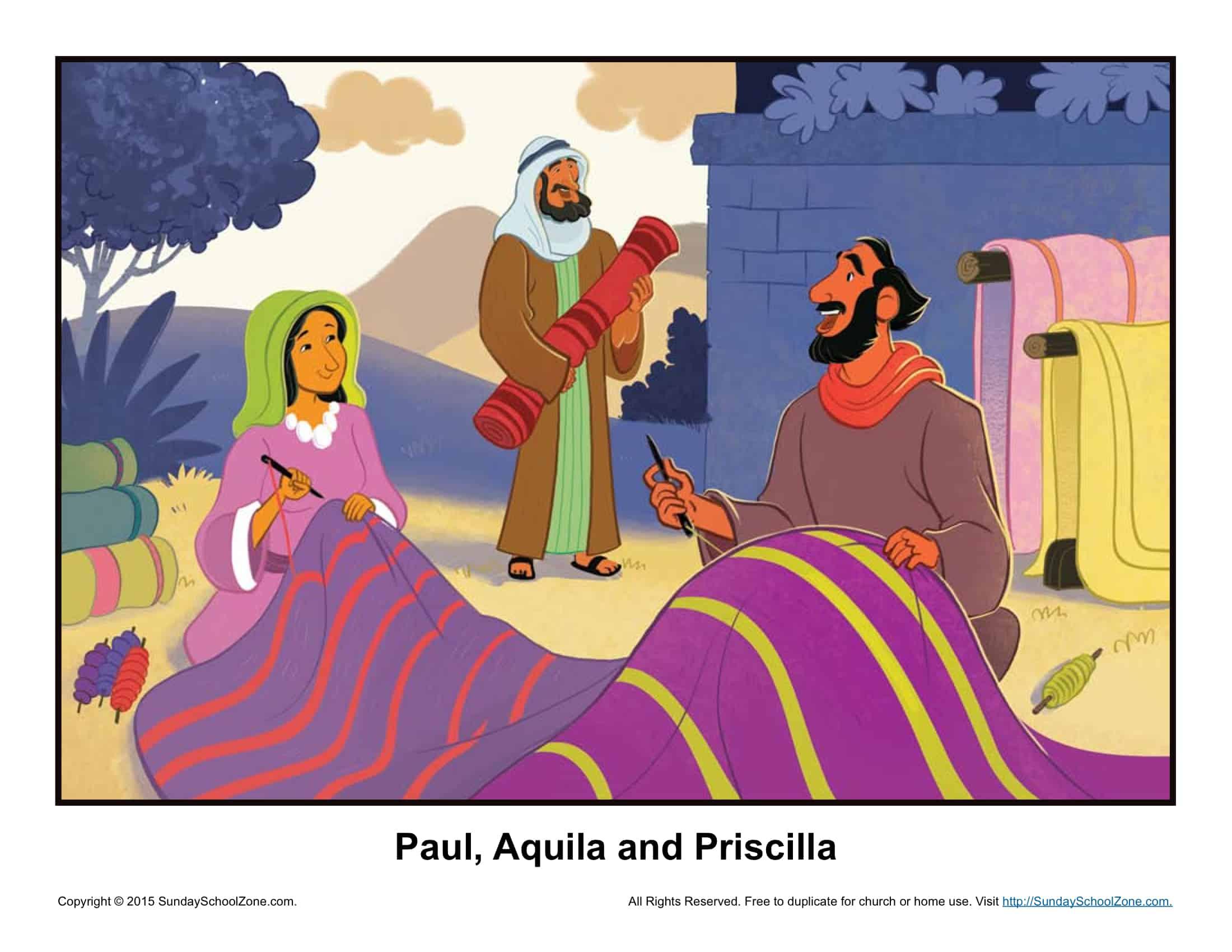 Aquila And Priscilla Story Illustration