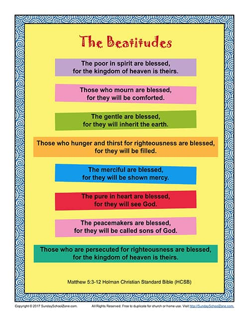 The Beatitudes Poster Scripture Page On Sunday School Zone