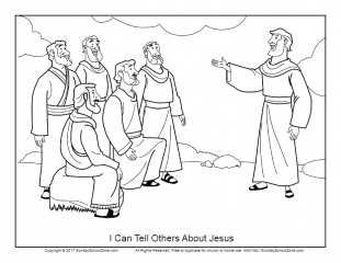 I Can Tell Others About Jesus Coloring Page on Sunday