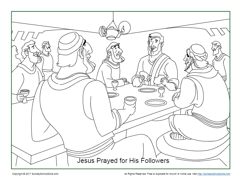 Jesus Prayed For His Disciples Coloring Page on Sunday