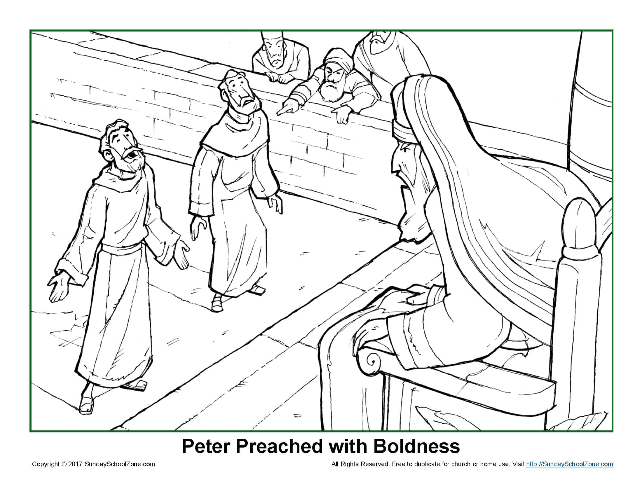 Peter Preached with Boldness Coloring Page on Sunday