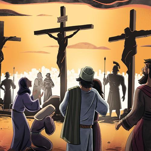 Illustration Of Jesus Crucifixion On Sunday School Zone