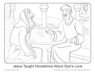 Jesus and Nicodemus Coloring Page on Sunday School Zone