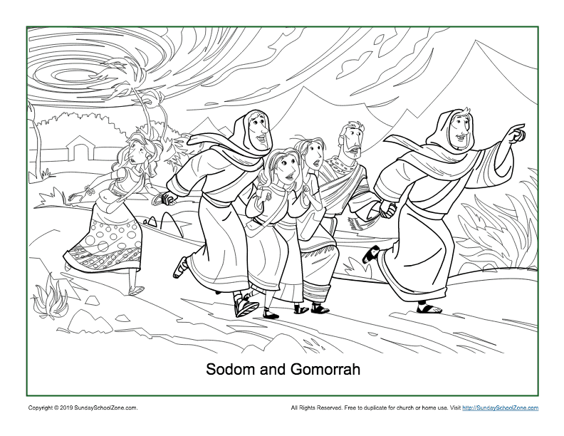 Sodom and Gomorrah Coloring Page on Sunday School Zone