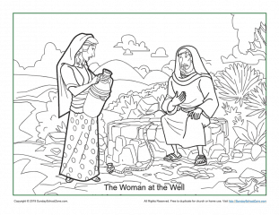 woman at the well coloring page # 19