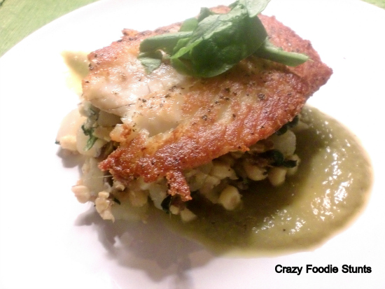 Pan-Seared Halibut with Corn Hash and Asparagus Pureé by Crazy Foodie Stunts