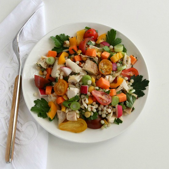 Chicken and Israeli Couscous Vegetable Salad by Shockingly Delicious