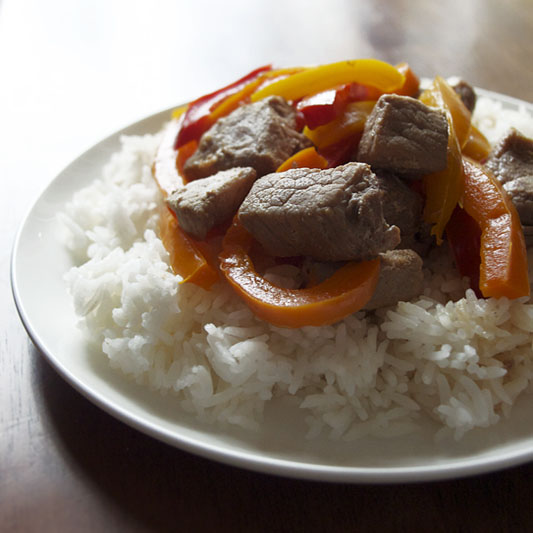 Pork Adobo with Bell Peppers