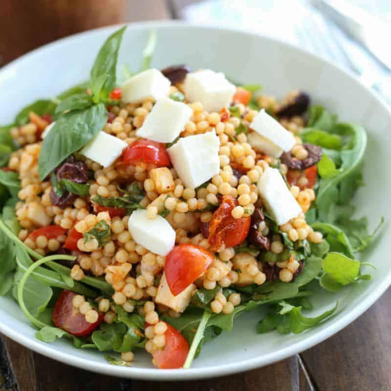Mozzarella Tomato Pearl Couscous Salad #SundaySupper