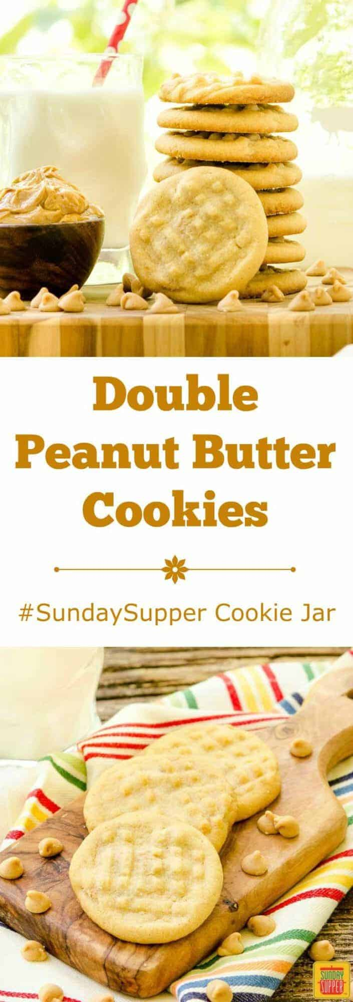 Double Peanut Butter Cookies are a twist on a classic treat. Peanut butter chips make these cookies doubly good. #SundaySupper Cookie Jar