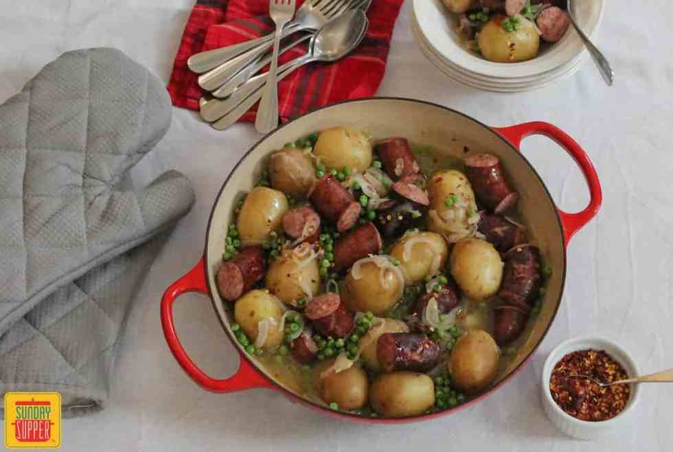 Smothered Potatoes and Sausage #SundaySupper