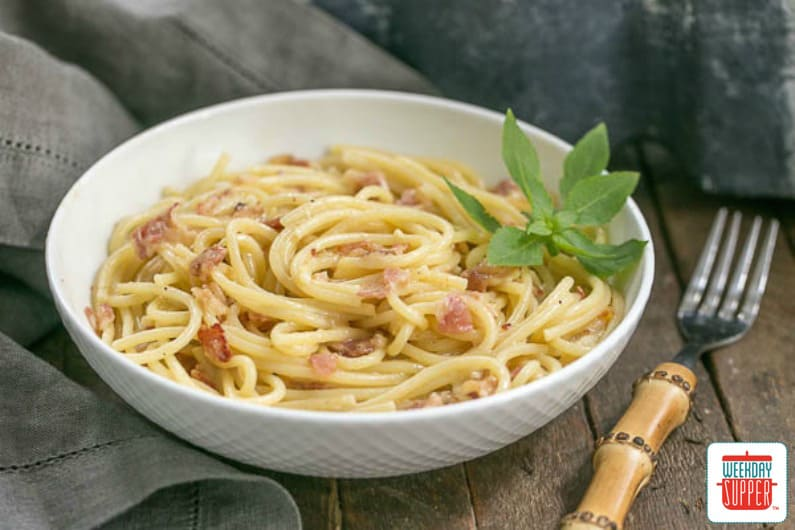 Creamy Spaghetti Carbonara #WeekdaySupper