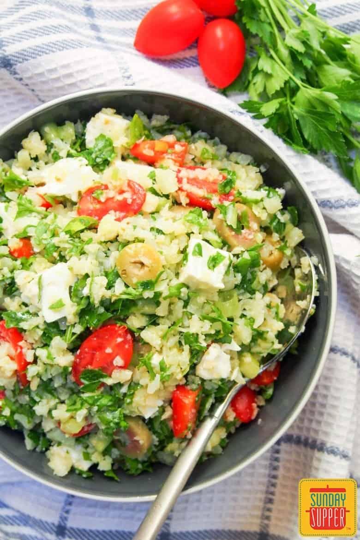 Greek Style Cauliflower Rice Salad #SundaySupper